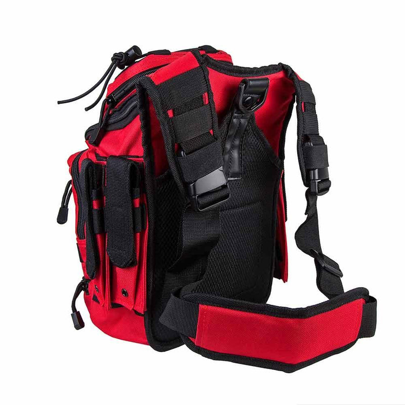 First responder bag has plenty of space with 7 compartments shown with shoulder straps.