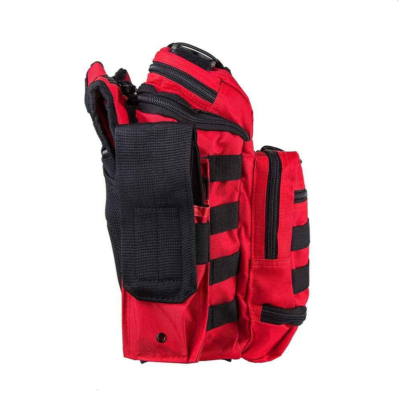 First responder bag has plenty of space shown with side view of the many pockets.