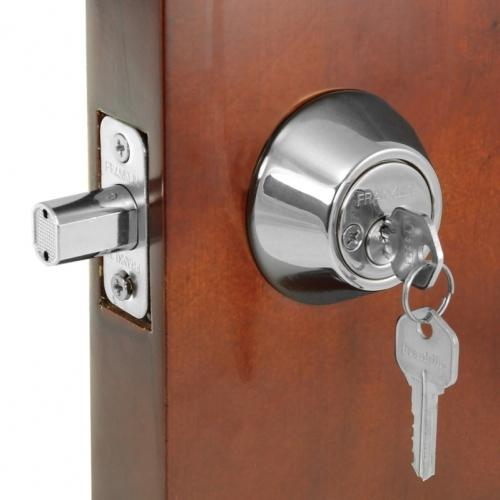 Franklin double lock with adjustable fit for any door. Prevents burglaries.