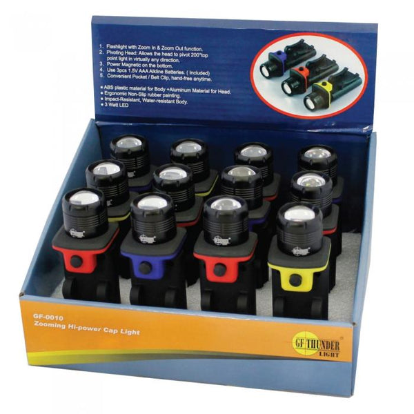 Bulk wholesale pricing for display box of 12 GF Thunder pivot head lights with magnet and hat clip.