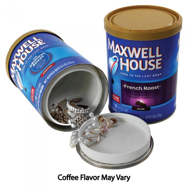 Maxwell House Coffee can with hidden compartment to safely hide valuables inside.