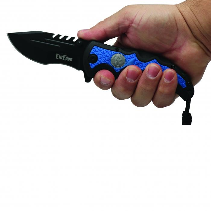 Navy blue folding knife for women and men.