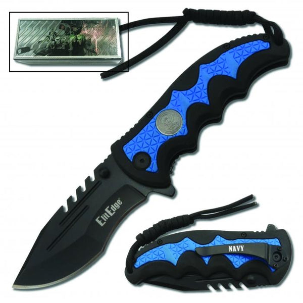 Navy blue folding knife with belt clip and paracord idea for survival and outdoor trips.