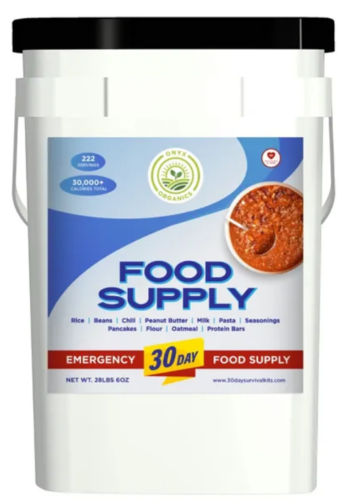 Emergency preparedness survival food with 15 year shelf life.