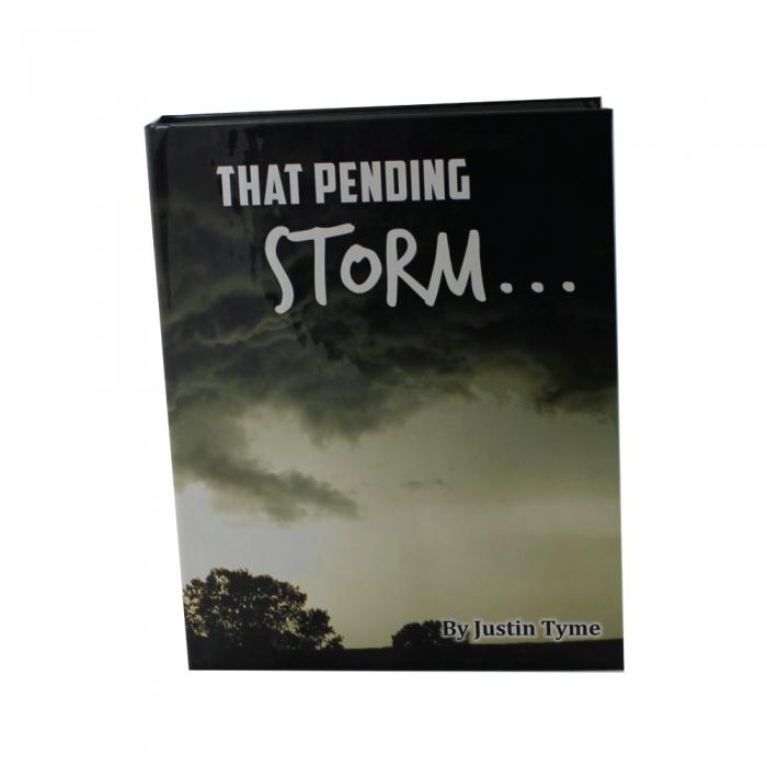 Pending Storm hand gun book with hidden compartment to safely hide valuables inside.