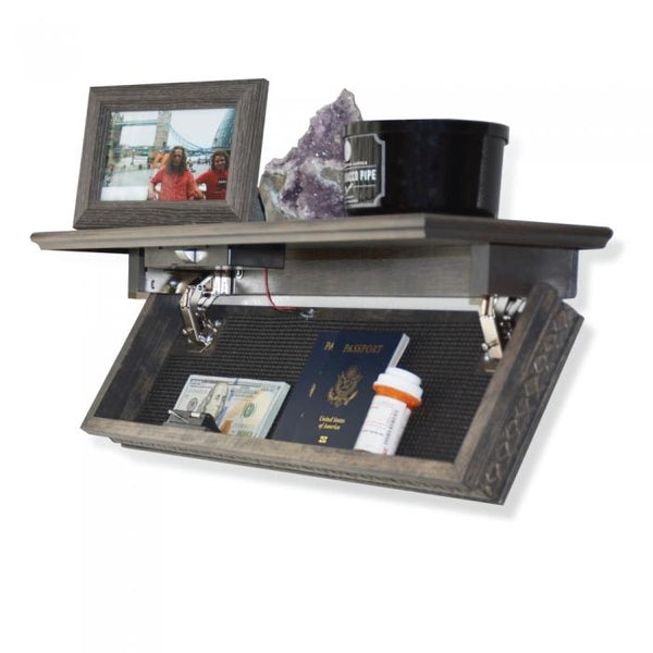 By far the most creative hidden safe using RFID technology the Quick Shelf locking system. Safely hide all of your valuables  in the open with quick, easy, fast access. Simply use your RFID card, key fob or token to gain quick access to the hidden compartment inside the wall shelf.