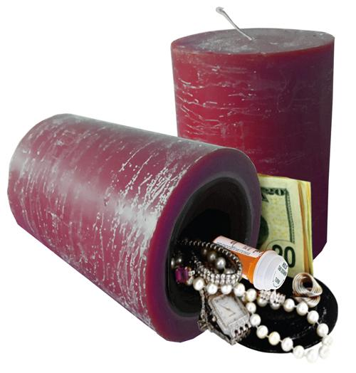 Real burning candle with hidden compartment you can safely hide valuables inside.