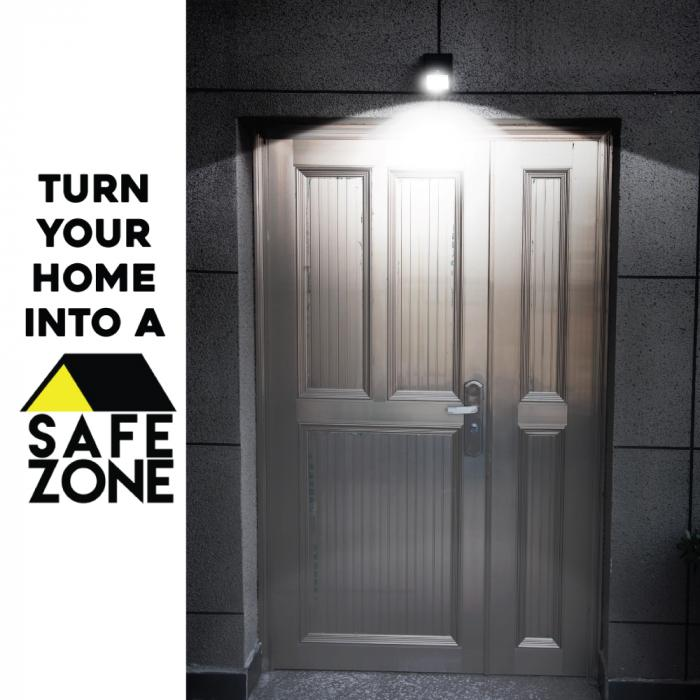 Streetwise Safe Zone LED light shown when on during the dark and nighttime offering security protection.