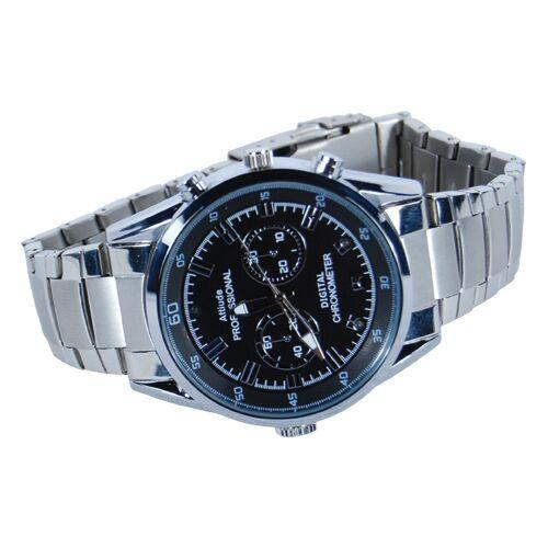 Spy wrist watch with HD hidden camera inside for surveillance that includes night vision.