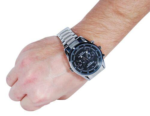 Spy wrist watch shown as worn and how it appears discretely as a normal watch.