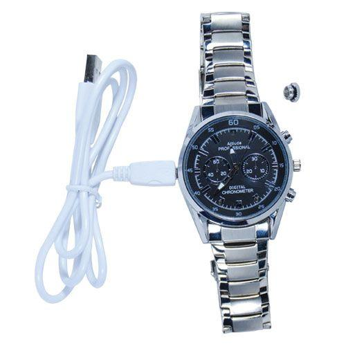 Spy watch with USB charge cord to keep wrist watch charged for surveillance when needed.