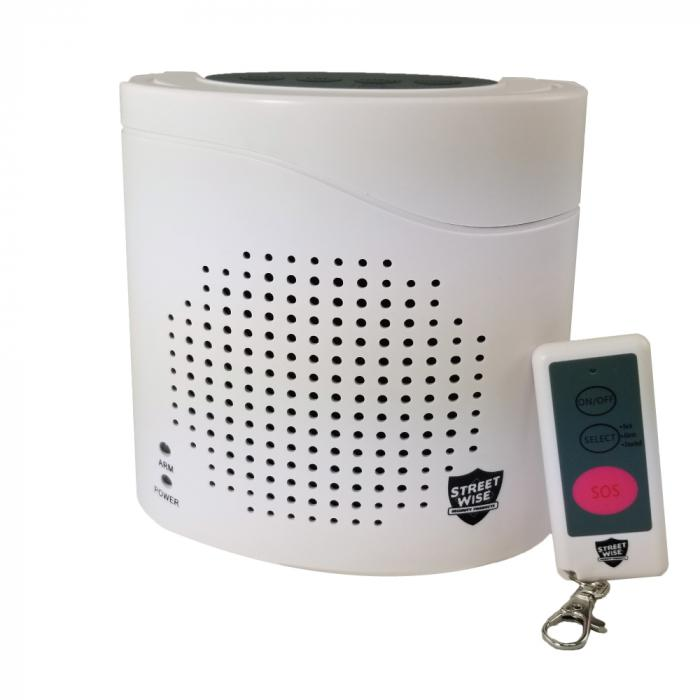 The Streetwise Virtual K9 barking dog alarm with remote control.