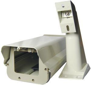 Aluminum housing and bracket for outdoor security cameras.