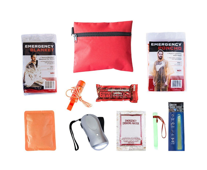 This compact child survival kit is packed neatly into a durable travel size bag. It is perfect to keep in a desk, backpack, or glovebox.