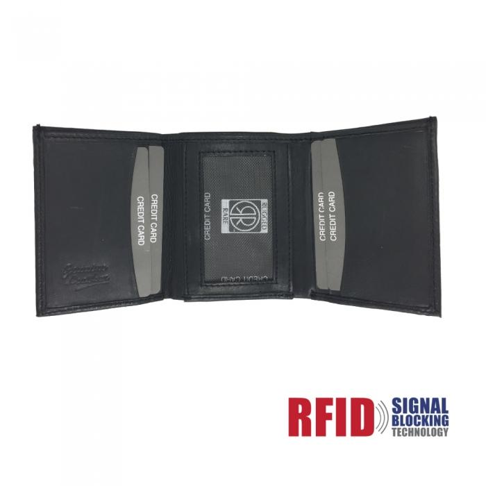 Leather Wallet Trifold, Double ID Window w/ RFID Protection