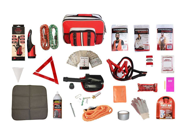 Auto Survival Kit are packaged safely in our durable auto bag, which includes a portable floor mat. Han
