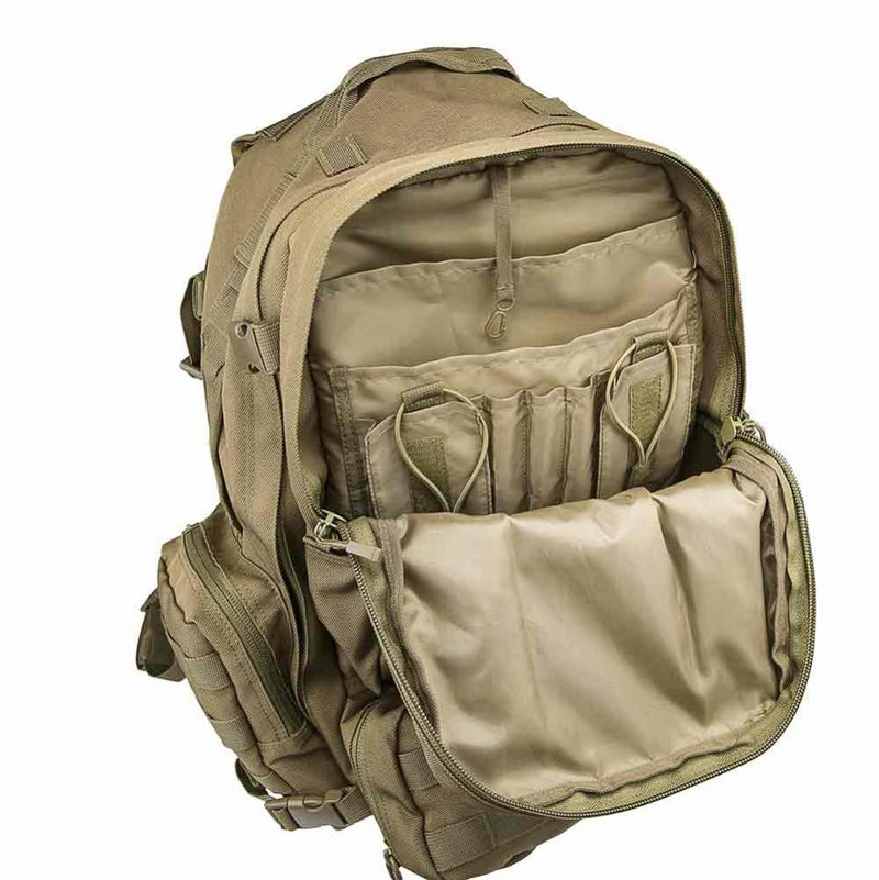The Vism 3013 3-Day backpack for outdoors shown with large compartment opened.