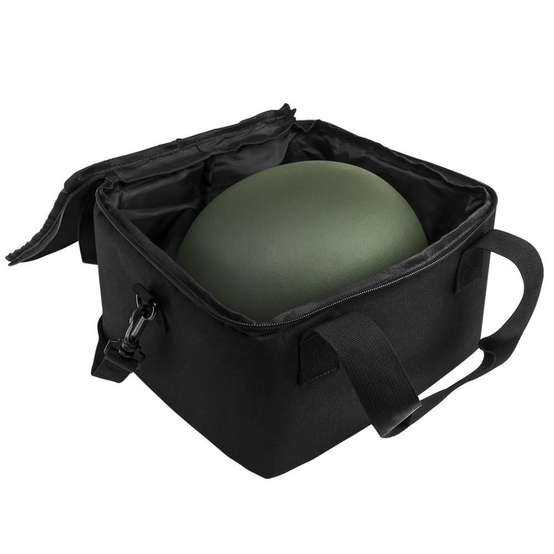 The Vism black compact ballistic helmet bag shown opened with helmet inside.