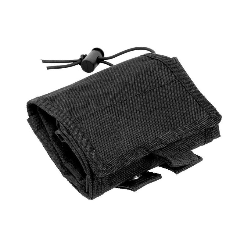 The Vism folding dump pouch color black shown in the folded flat position for easy storage.