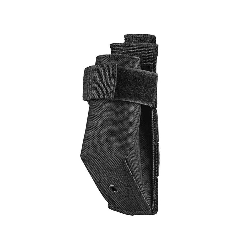 The Vism molle flashlight pouch color black side view of the nylon holster.