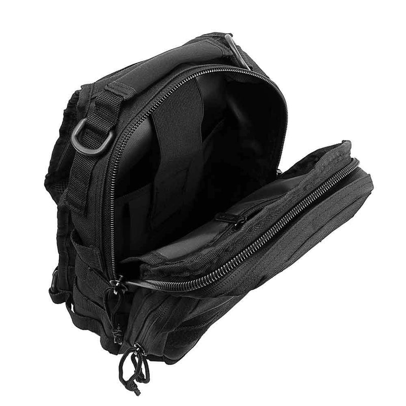 The Vism color black sling utility bag shown open with large main compartment.