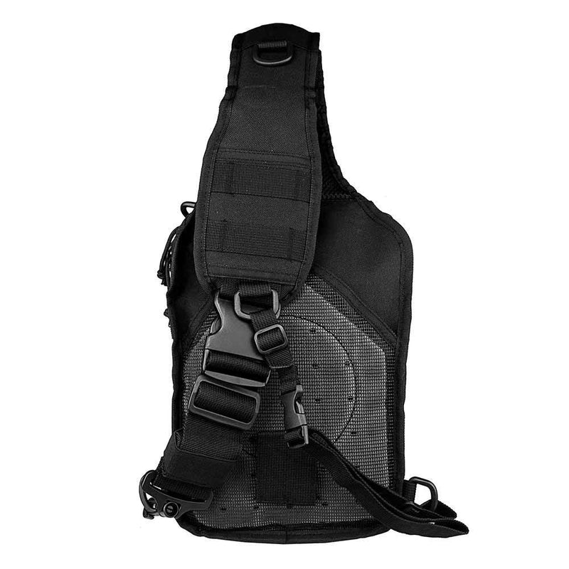 The Vism color black sling utility bag with heavy duty should padded strap for comfort.