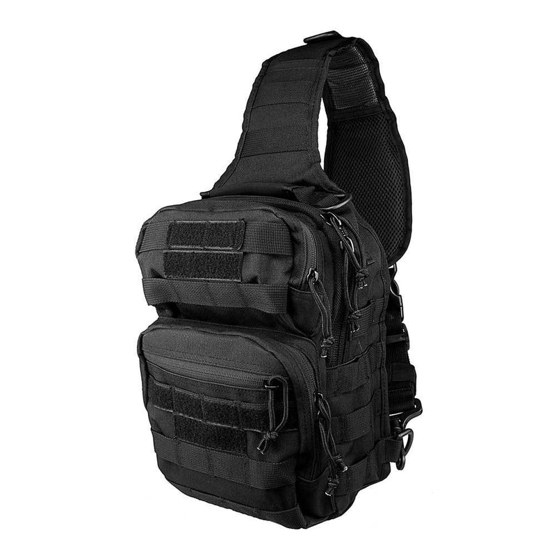 The Vism color black sling utility bag with PALs and MOLLE webbing profile side view.