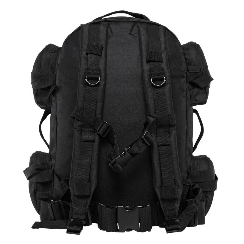The VISM black tactical backpack with large compartments, MOLLE webbing shown in image the backside view.