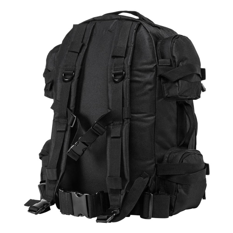 The VISM black tactical backpack with large compartments, MOLLE webbing with sturdy comfortable shoulder straps.