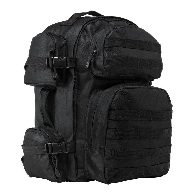 The VISM black tactical backpack with large compartments view of the side.
