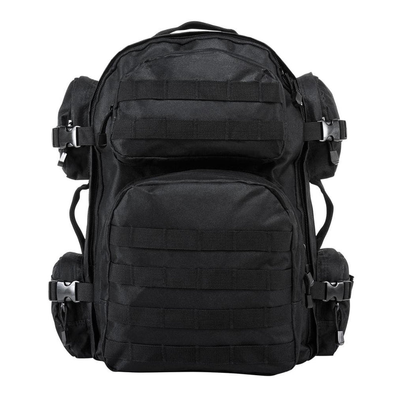 The VISM black tactical backpack with large compartments, MOLLE webbing and sold on line for low great price.