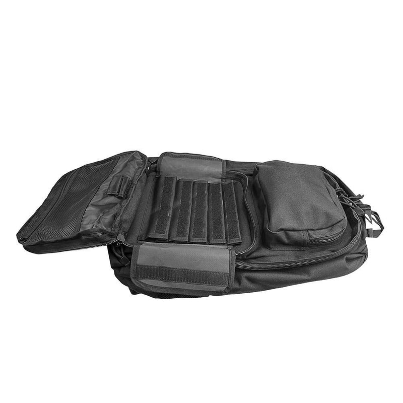 The Vism color black take-down carbine backpack has multi-large compartments.