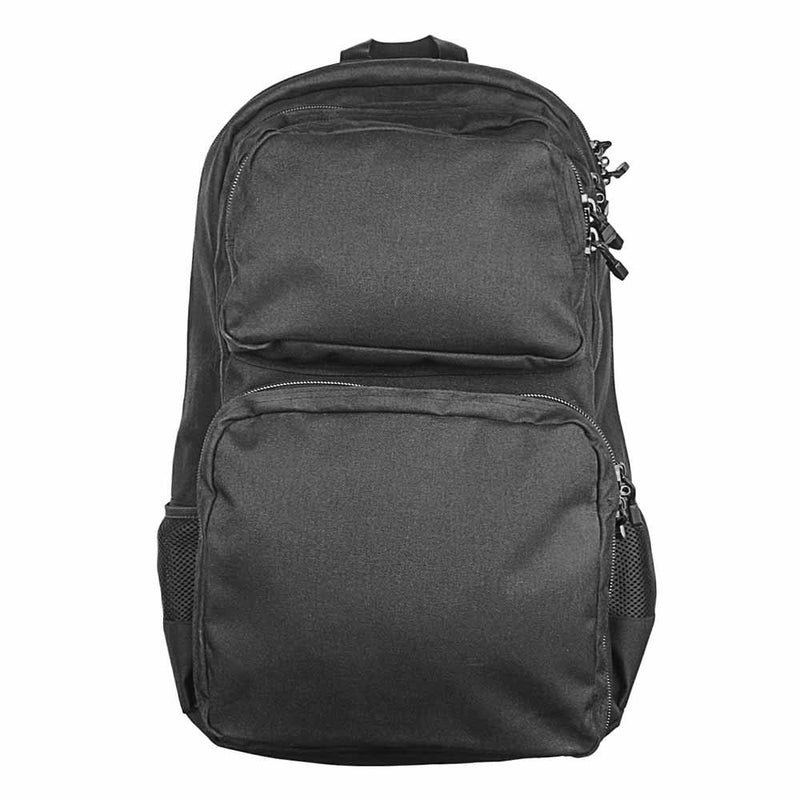 The Vism color black take-down carbine backpack has lockable compartments.