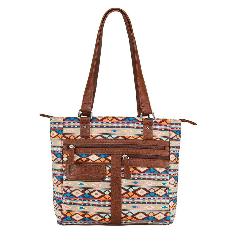 Printed Tote CCW Purse Brown