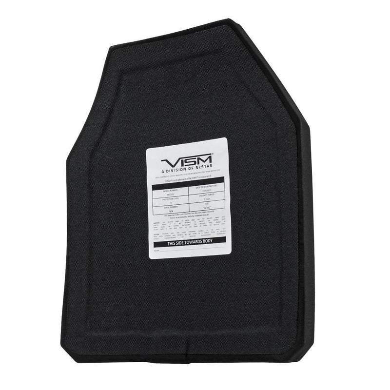 For law enforcement the Vism Ceramic & PE ballistic plate shooter's cut 10 x 12 inches.