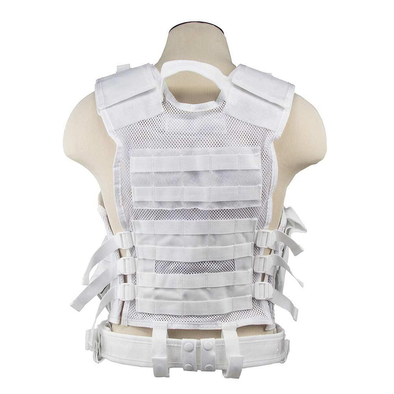 The Vism color white tactical vest adjustable for sizes from medium to x large view of the back side.