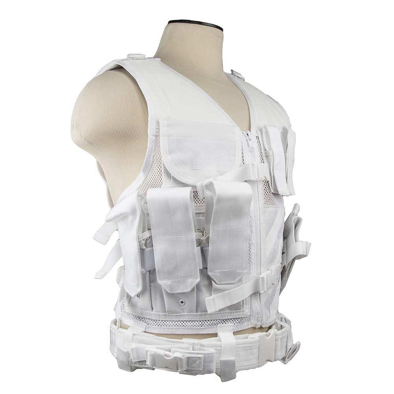 The Vism color white tactical vest adjustable for sizes from medium to x large view of the right side.