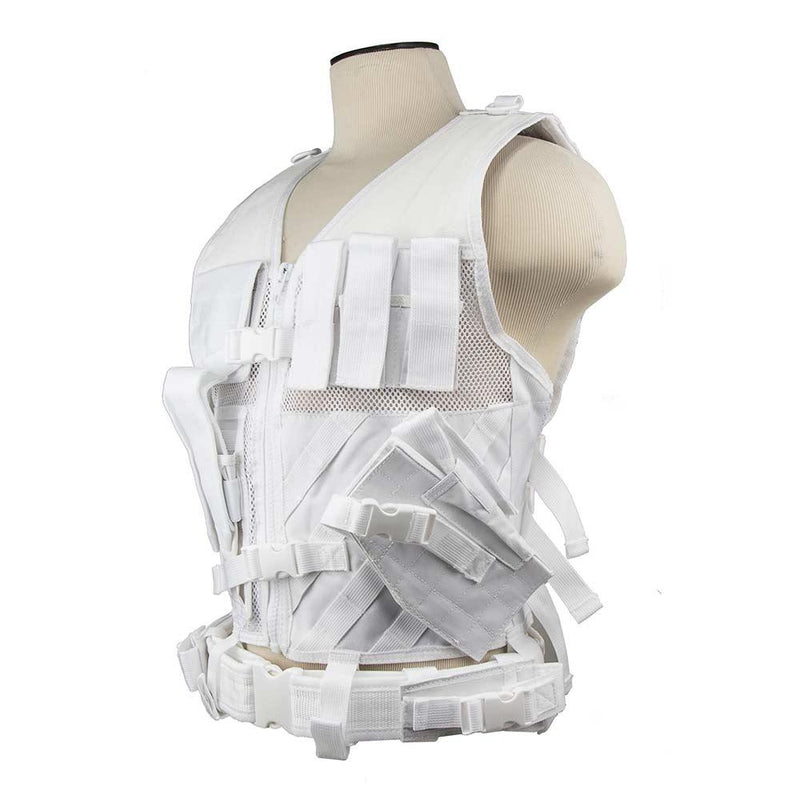 The Vism color white tactical vest adjustable for sizes from medium to x large view of the left side.