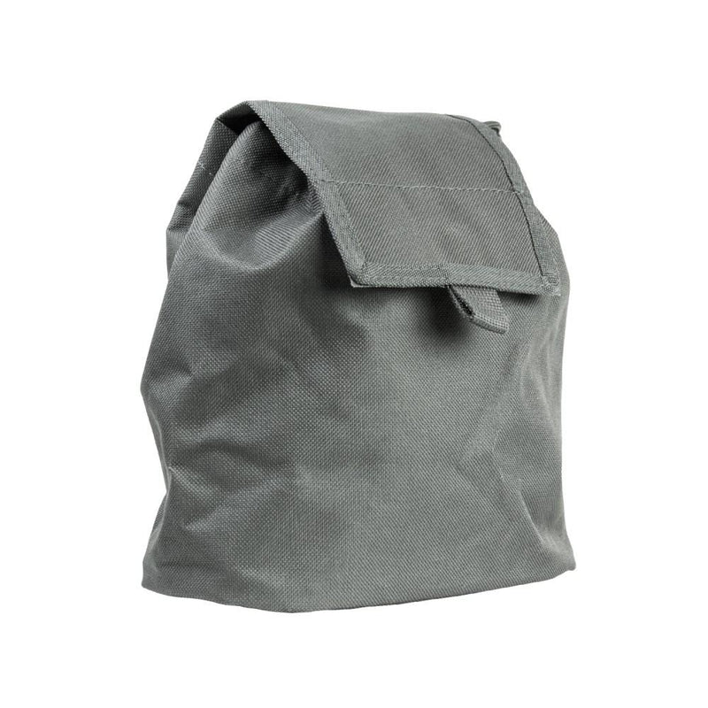 The Vism folding dump pouch color gray for law enforcement and civilian use with flap closed.