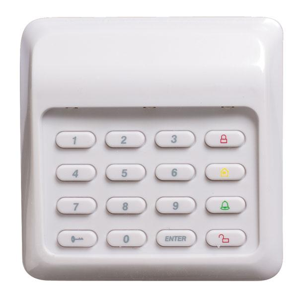Wireless security keypad for home and business protection includes loud panic alarm.