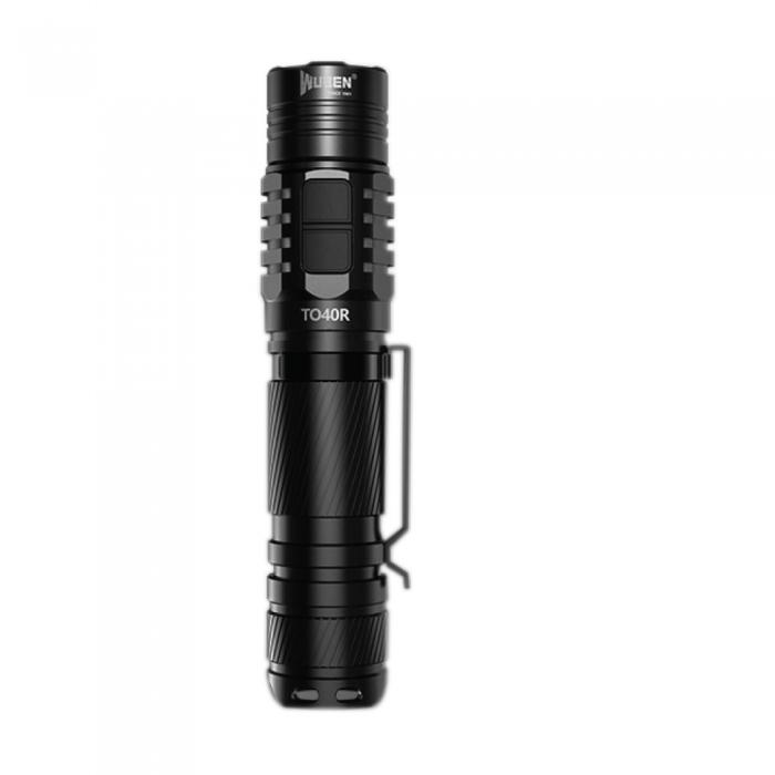 Wuben bright 1200 lumen LED flashlight with survival bracelet for outdoor safety.