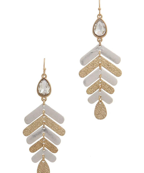 Rhinestone textured metal drop earring gold/silver eazup