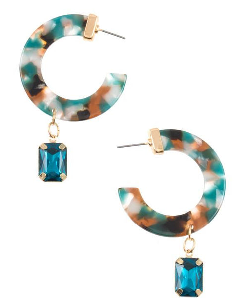 Semi circle resin drop gem earring turquoise eazup