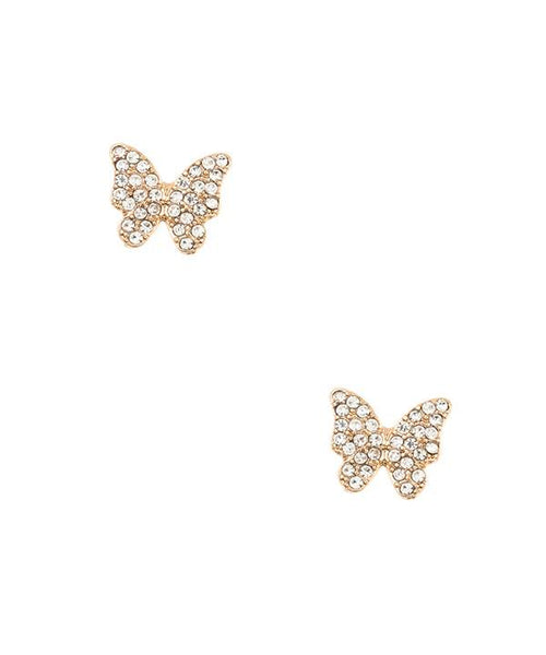 Rhinestone pave butterfly post earring gold clear eazup