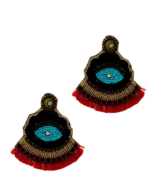 Designer Chic Antic Drop Earring red eazup