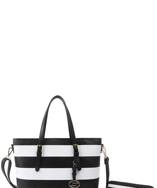 2in1 Modern Striped Shopper Bag With Matching Wallet black eazup