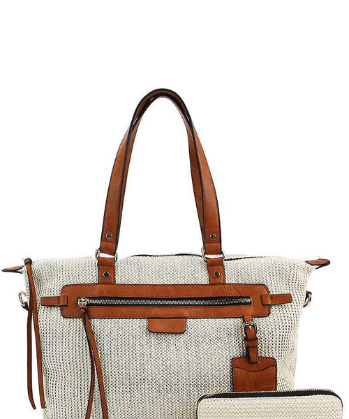 2in1 Fashion Princess Satchel With Matching Wallet tan eazup