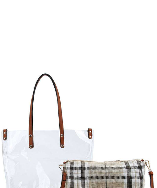 Hot Trendy Transparent Tote Bag With Long Strap beige eazup