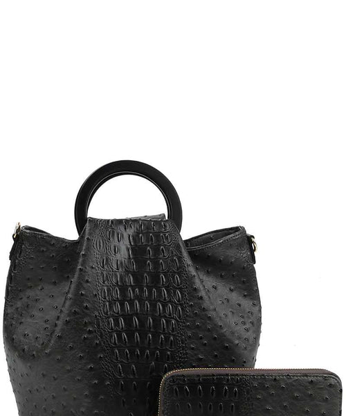 2in1 Stylish Croco Pattern Chic Satchel With Long Strap black eazup
