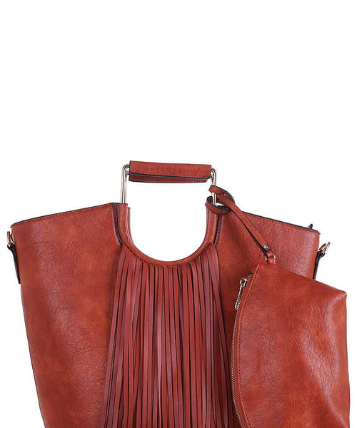 2in1 Stylish Tassel Fringe Satchel With Long Strap Brown eazup